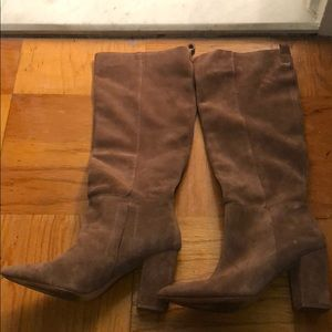 Suede mid knee boots